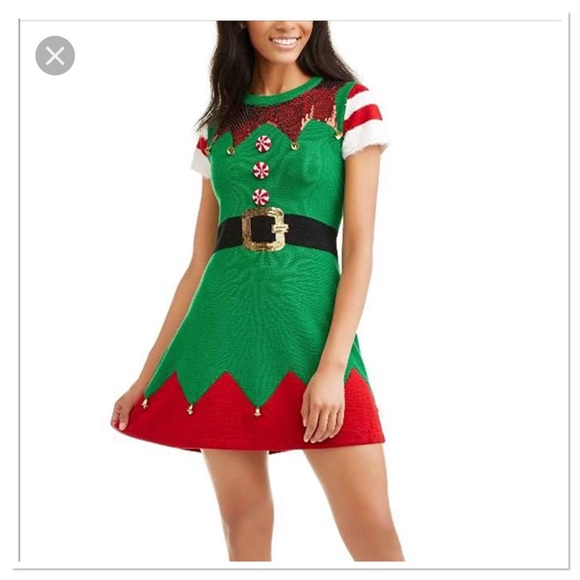 f5505ccb936e1 holiday time Dresses | Not Ugly Christmas Elf Sweater Dress | Poshmark